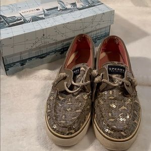 Sperry Leopard Print Sequin Boat Shoes
